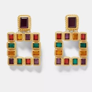 Geometric Rhinestone Statement Drop Earrings
